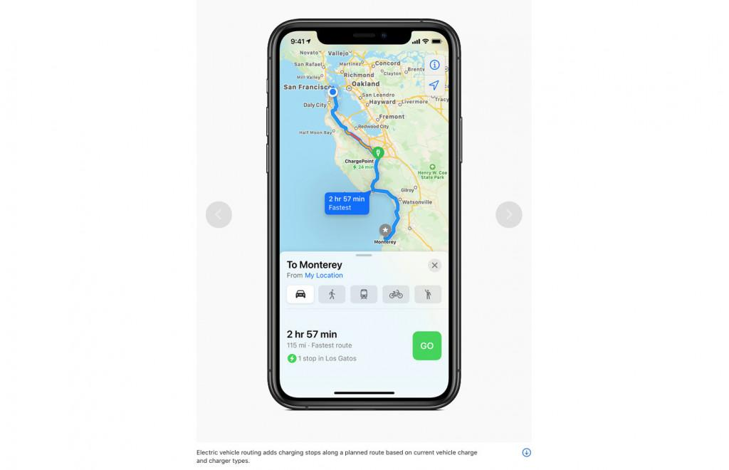 Apple Maps EV navigation