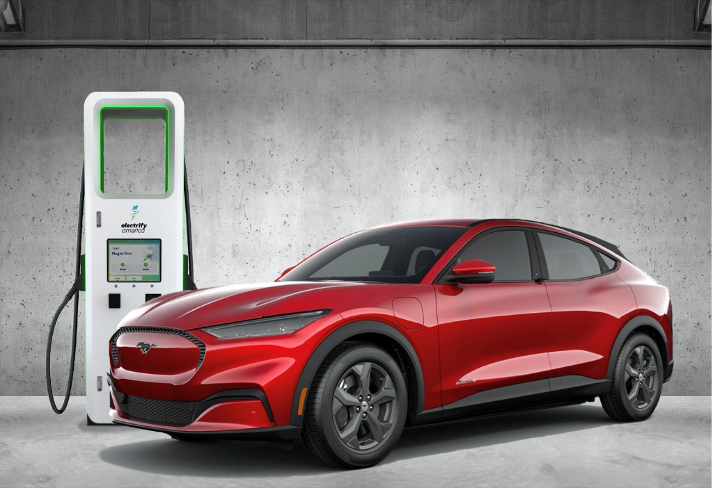 2021 Ford Mustang Mach-E at Electrify America fast charger