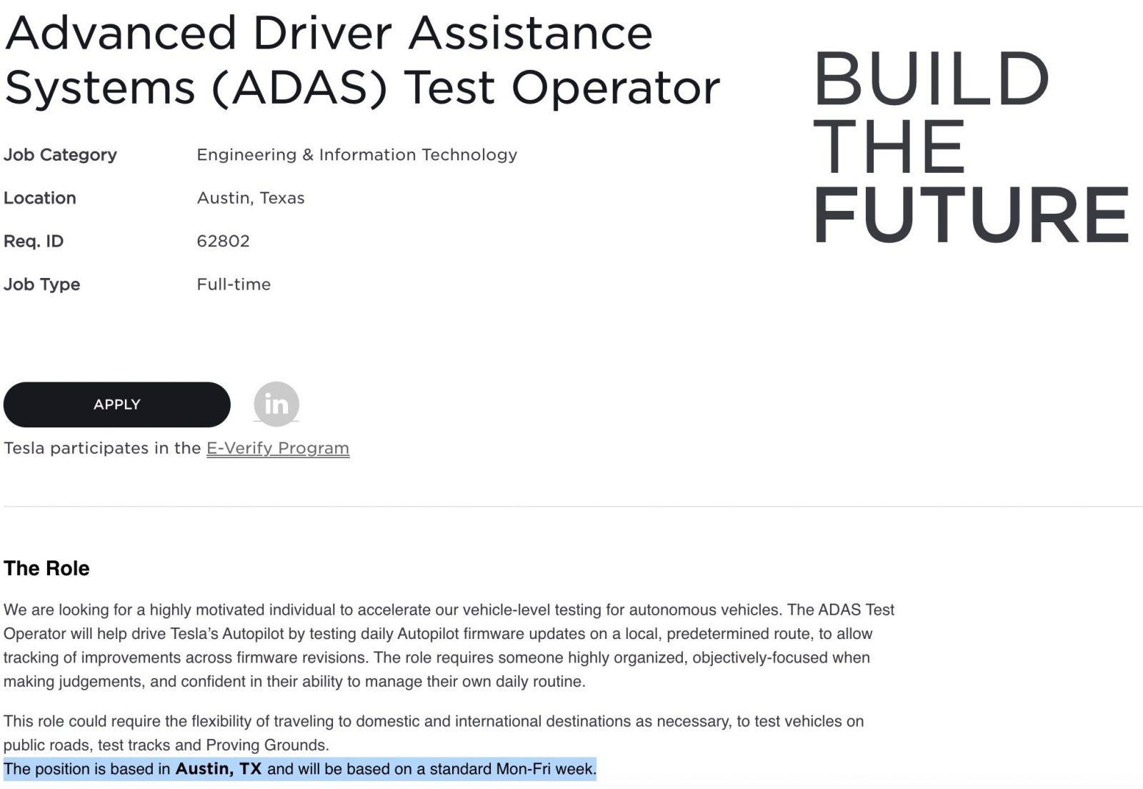 Tesla is looking to hire Autopilot test drivers in Austin