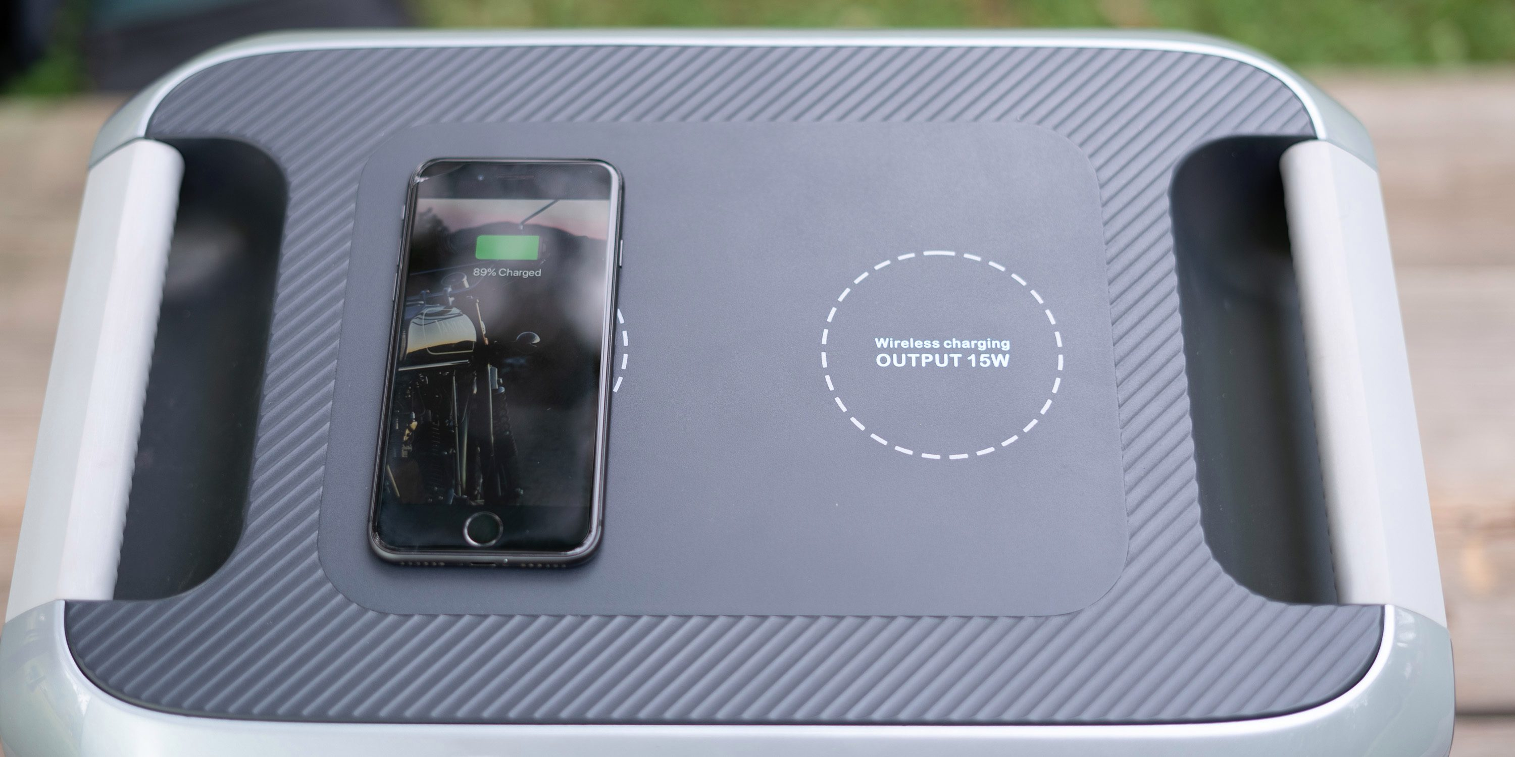 Wireless charging an iPhone on the Bluetti AC200 power station