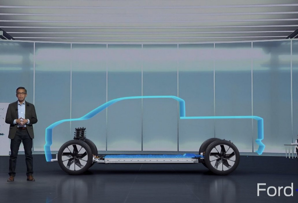 Electric Ford F-Series outline from Ford Capital Market Day presentation via Mike Levine on Twitter
