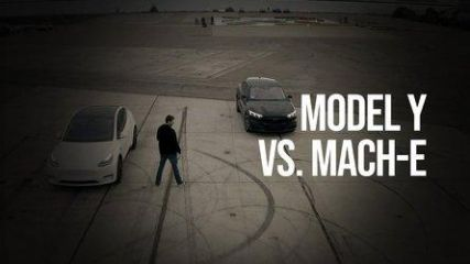 Tesla Model Y Vs Ford Mustang Mach-E Visual Comparison And Drag Race